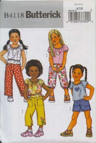 butterick-b-4118-girls-pants-shorts-top-sewing-pattern-ab757