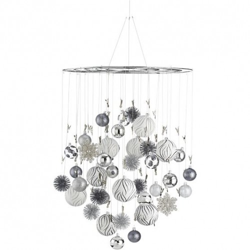 Just crafty enough diy inspiration ornament chandelier for Hanging ornaments from chandelier