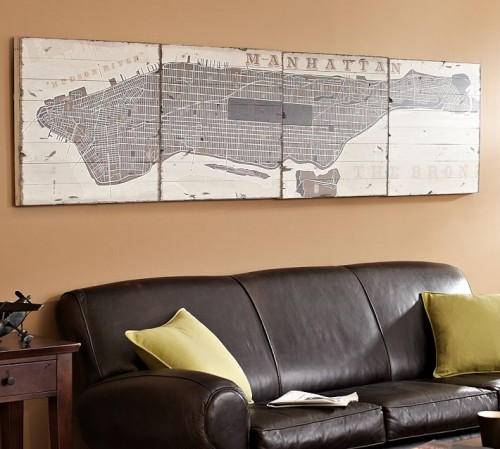 also from pottery barn is a city map on a plank all this one would take to make is a map some mod podge and some wood